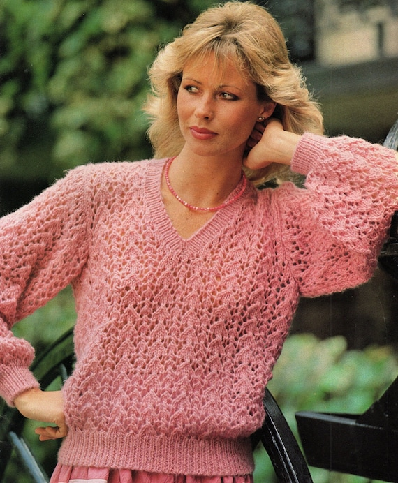 Knitting Pattern Ladies V Neck Jumper : Ladies Lacy V Neck Sweater Knitting Pattern. PDF Instant