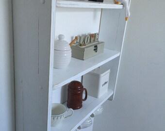 60 cm H x 60 cm W Pine White Shabby Chic Shelves with Cup Hooks, Kitchen, Bedroom, Bathroom Shelves.
