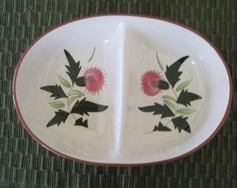 Stangl Pottery, Divided Serving Bowl, Thistle Pattern, Vintage