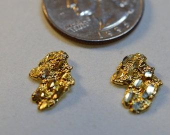 10k nugget gold earrings