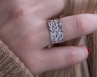 Wide band ring,wide concave band ring,925 sterling silver,10 mmwide