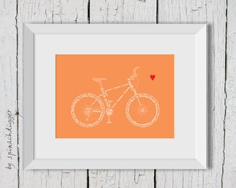Bicycle personalised print, Bicycle Print, Custom Bike Print, Gift for cyclist, ready to frame