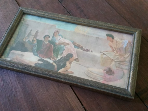 1920s Art Print: A Reading From Homer by Lawrence Alma-Tadema | Antique Gold Picture Frame | Ancient Rome Neoclassical Artwork | Romanticism