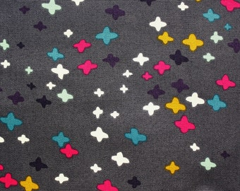 Organic Fabric / Cloud 9 Fabric / Cross Fabric / Canvas / Koi / Rashida Coleman Hale / Dark Grey / Crafting Sewing Material / Half Metre