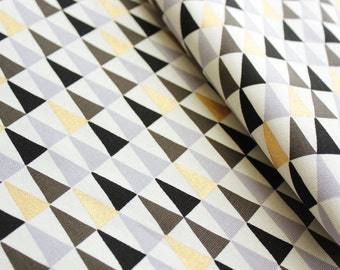 Canvas Fabric, Triangle Fabric, Geometric Fabric, Buzoku, Made in Japan, Monochrome with Gold Accent, Handbags, Pouch, Purse, Half Metre