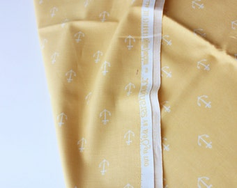 Michael Miller Fabrics Anchors Away / Sarah Jane / Cute Little White Anchors on Light Yellow Base / Quilting Sewing Clothing / Half Metre