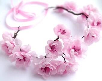 Bridal flower hair wreath, Headband with sakura flowers,pink flowers, wedding accessories,Cherry blossom, headband, flower