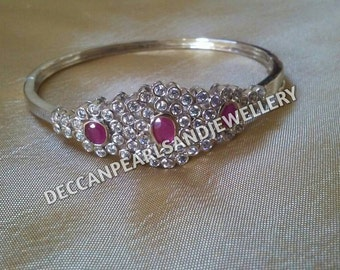 Silver bracelet with cz and semi precious ruby