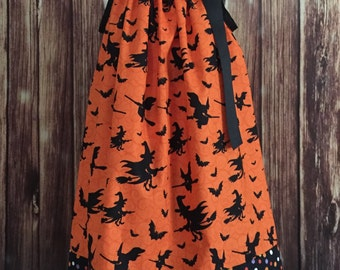 Halloween pillowcase dress, Pillowcase dress, Orange dress with witches, Halloween dress for girls, Halloween Pillowcase dress with witches