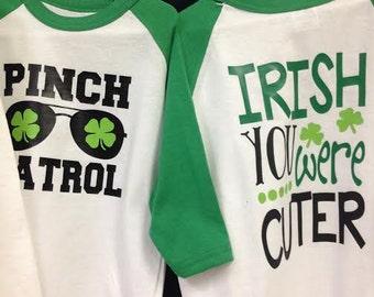 St Patricks Day Raglan Shirts - Pinch Patrol - Boys St Pattys Day Shirts - Green Shirt - Pinch Proof - Shamrock Shirt - Clover Shirt