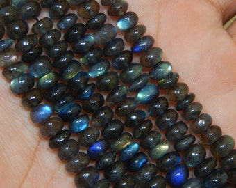 """17.5""""Inches Labradorite Blue Flash Smooth Beads Rondell Shape 5x8 mm Approx"""