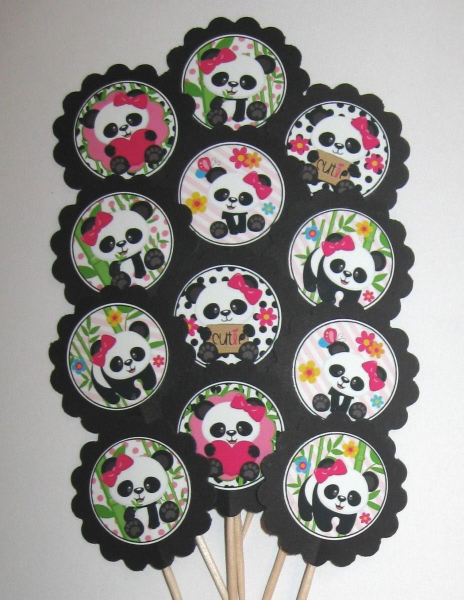 Panda Bear Cupcake Toppers/Party Picks Item 1126
