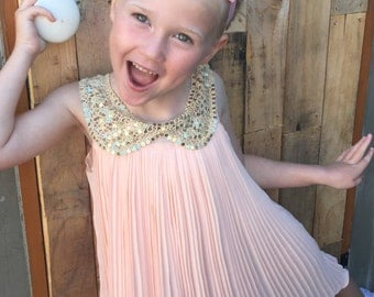 Girls sequined collar pleated dress age 6