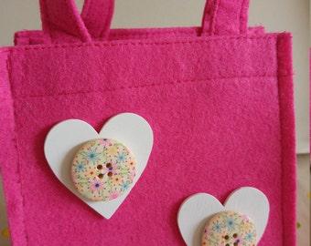 Pink Mini Felt  Gift Bag