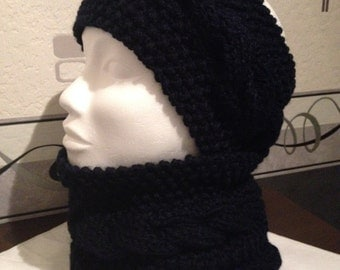 All headband and his Snood Blue Navy adult/teens/women in thick wool, soft warm and comfortable