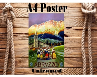 Beautiful Retro A4 Vintage Travel Poster Abruzzo Italy Unframed