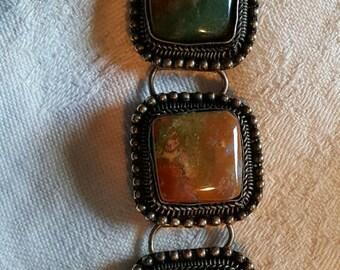 Lovely Multi-colored Agate & Pot Metal Bracelet, fits 5-6 inch Wrist