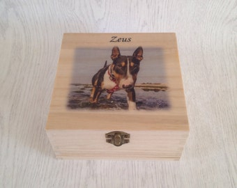 Wooden photo memorial box, urn for dog, urn for cat, pet memorial, pet urn, personalised urn, photo urn, photo memorial 19x19x8cm