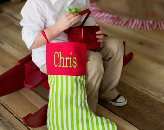 Monogrammed Christmas Stocking- Personalized Christmas Stocking