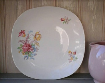 J & G Meakin plate,Sol square plate,vintage plate,floral vintage plate,Meakin,J AND G Meakin,Sol,vintage tableware,vintage plate,crockery