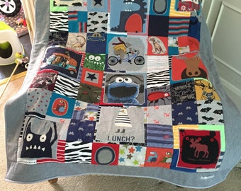 Large cot multiple panel baby memory quilt