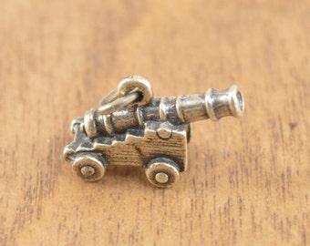 ON SALE 3D Cannon Charm / Pendant Sterling Silver 3.2g Vintage Estate