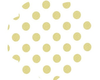 White gold fabric. Pearlized polka dot fabric. Metallic gold dot fabric. Apparel/quilt cotton fabric. DIY sewing fabric. sewing/craft fabric