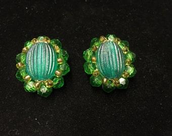 Vintage Clip Earings, Green Beads, Goldtone, Germany
