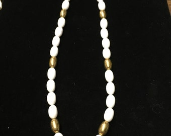 Vintage Napier Choker/Necklace, White Beaded, Goldtone