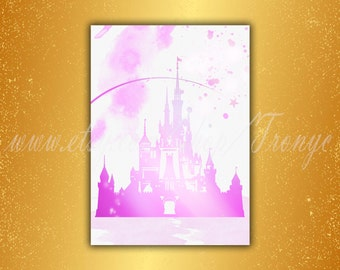 Disney castle print, princess Castle Pink, Fairytale Nursery, disney Watercolor Print, gift Baby, disney room Decorations, Party Print T-029