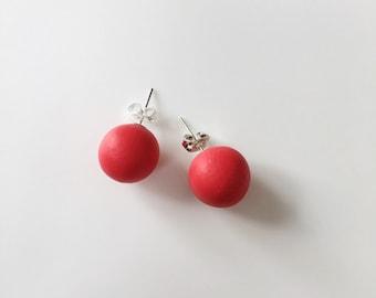 Red Stud Earrings, Round Earrings, Geometric Earrings, Chunky Earrings, Minimalist Earrings, Polymer Clay, Stud Earrings, Boho Earrings