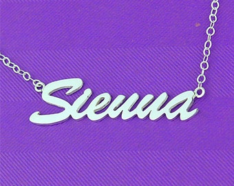 Cursive name necklace, personalized sterling silver name necklace, cutsive font necklace, make name necklace, necklace custom, handmade