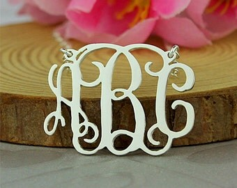 Monogram necklace, custom monogram necklace, monogram initial necklace, personalized monogram jewelry, sterling silver monogram necklace