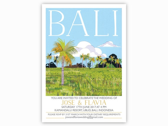 bali destination invites single sided with envelopes rice With bali destination wedding invitations