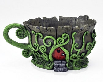 Mini Woodland Fiddlehead Fairy Tea Cup Planter