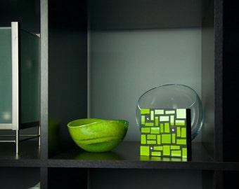 Green Glass Art, Glass Art, Wall Decor, Abstract Art, Home Decor, Colorful Art, Contemporary, Modern