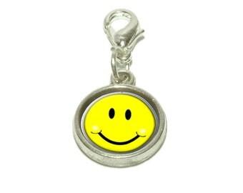 Happy Smiley Face Dangling Bracelet Pendant Charm