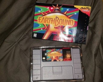 Earthbound with repro box  snes super nintendo repro