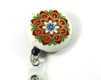 FLOWER Badge Reel, Button badge holder, Retractable badge, Flower badge holder, Gold flower badge Reel