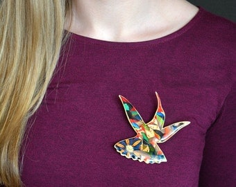 Brooch large Hummingbird Silhouette