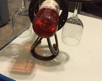 Horseshoe Wine Glass and Bottle Holder