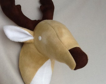 Light brown/cream Stuffed Deer Head wall mount for baby nursery decorationing, 6 point buck, easy to hang hard ware included, gender neutral