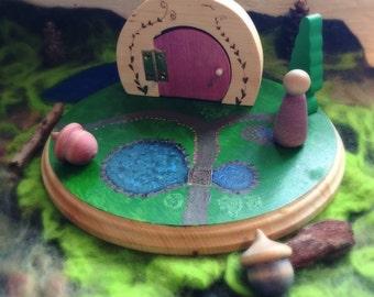 Fairy door that opens, wood, Waldorf inspired gnome, elf, fairy door, nursery decor, fairy garden, peg dolls