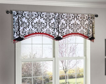 Premier Prints Traditions Black and White Custom Valance, Arched Trumpet Double Wide