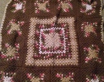 Hand stiched brown n other baby blanket