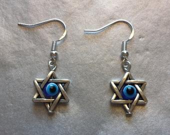 Star of David Evil Eye Kabbalah dangle earrings