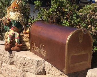Rustic Copper mailbox hand painted copper verde curbside mailbox, post mailbox, rustic with aged details wedding mailbox bronze personalized