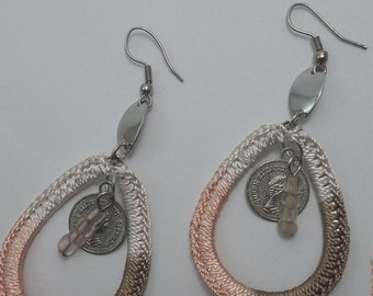 Crochet earrings in handmade, Unique knitted earrings with beads and fake decorative coins