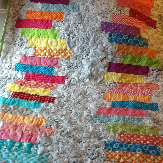 Bright Color Baby Quilts: Handmade Baby Quilt Bright Colors With Black-and-White