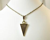 Abracadabra mystical kabbalah talisman, triangle arrow point pendant, pentacle amulet, magic protection simple chain, cheap necklace